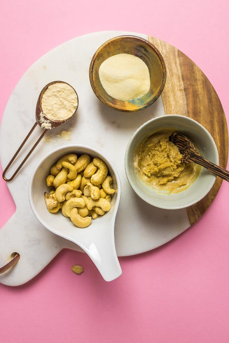 Easy Paleo Cold Tofu Substitute recipe ingredients is soy free and Keto friendly with cashew flour, inspired by Japanese Goma tofu.