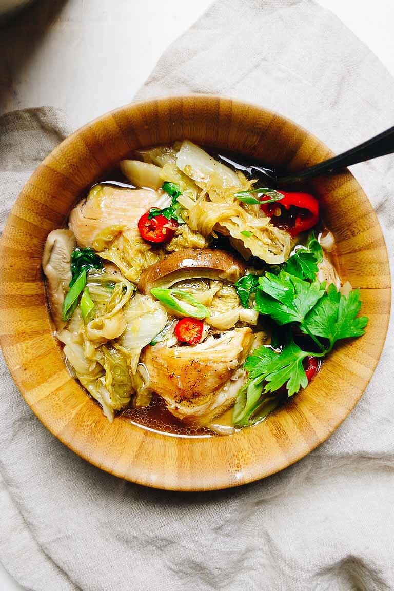 Instant Pot Chicken Cabbage Soup Recipe with Chinese Napa cabbage and shiitake. Paleo, Whole30 and Keto friendly.