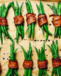 Paleo Bacon Wrapped Green Bean Bundles Thanksgiving Recipes for Paleo Whole30 Keto.
