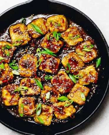 Paleo Crispy Sesame Tofu recipe with oven baked soy free egg custard tofu in Whole30 Sesame Sauce.