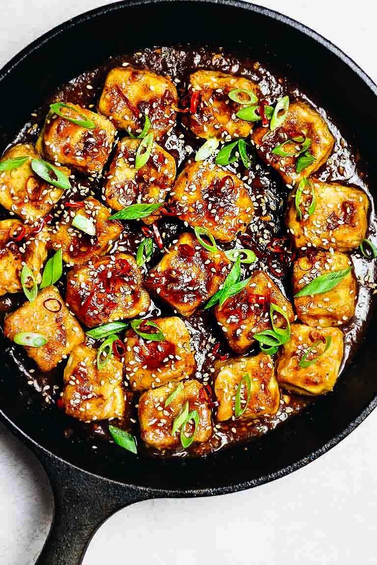 Paleo Crispy Sesame Tofu recipe with oven baked soy free egg custard tofu in Whole30 Sesame Sauce.
