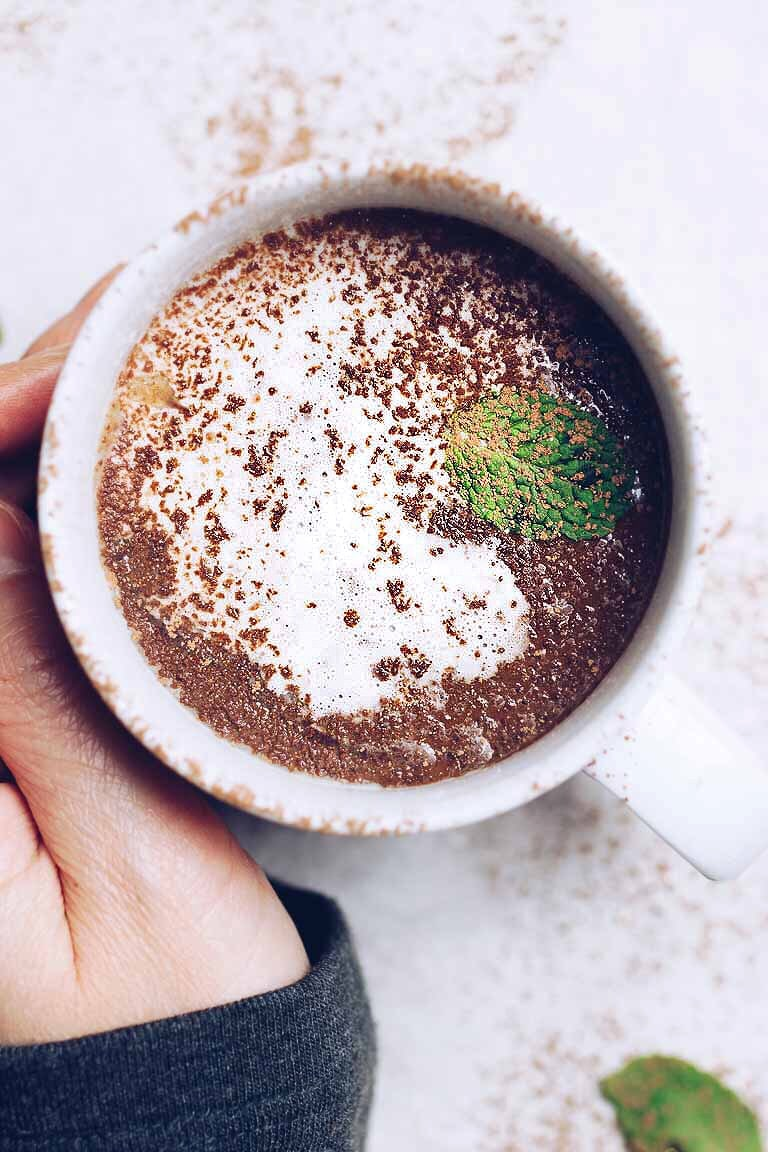 Paleo Hot Chocolate with dairy-free almond or coconut milk is healthy, low carb, and easy to make!