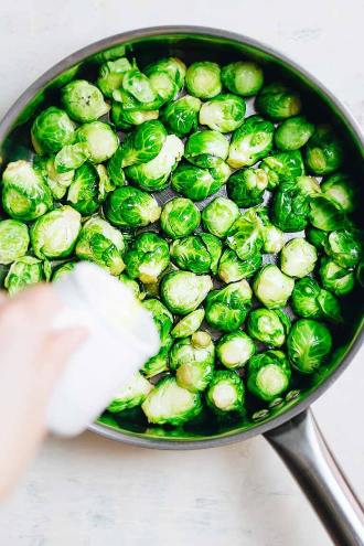 Paleo Skillet Roasted Brussels Sprouts with parmesan cheese is the best Paleo Brussel Sprouts Recipe.
