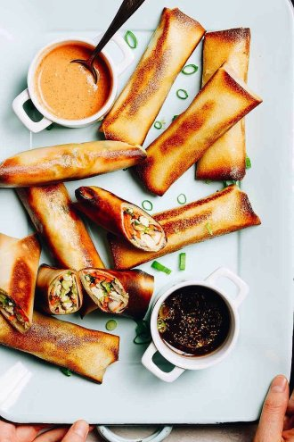 Paleo Egg Rolls recipe with coconut wraps baked in oven until golden crispy. These egg rolls are low carb Whole30 and Keto friendly.