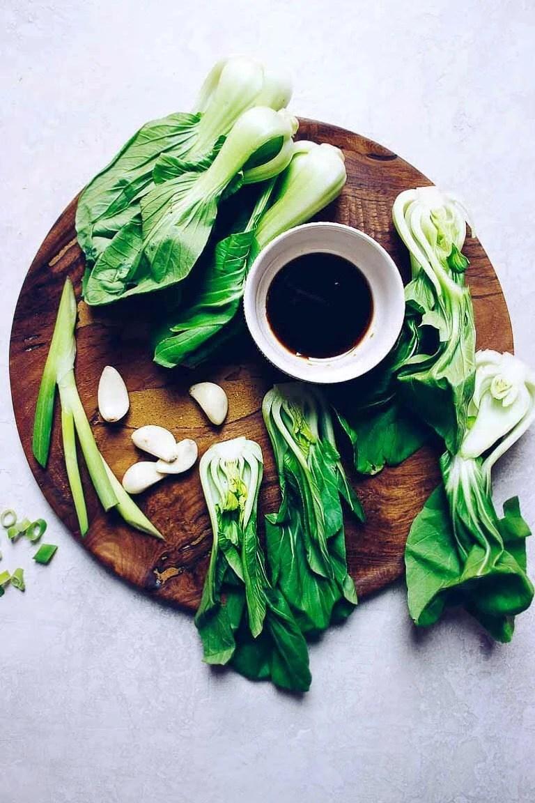 Bok Choy Dim Sum recipe with crunchy baby bok choy in a garlicky Paleo dim sum sauce.