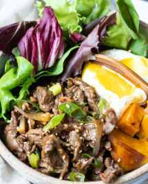 Easy Whole30 Korean Beef Bowl with savory and sweet bulgogi sauce. Easy to make and great for meal prep!
