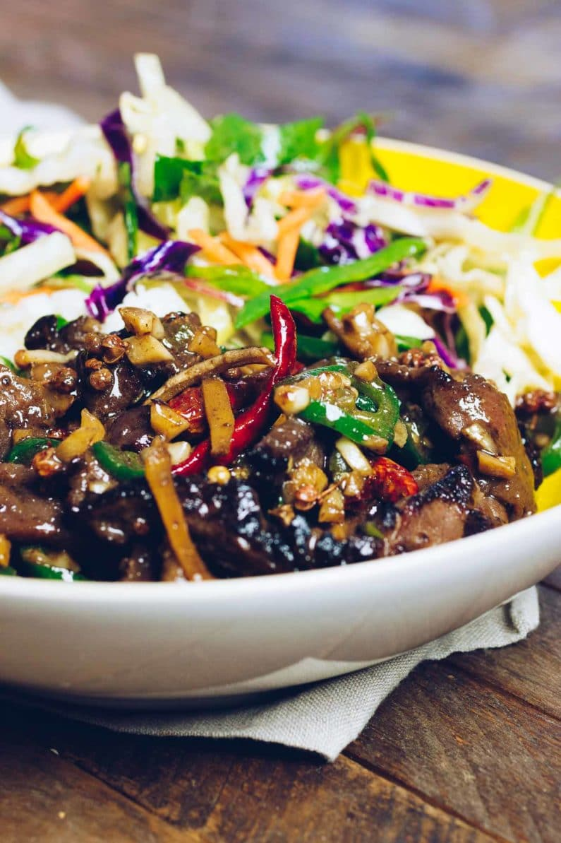 Paleo Hunan Beef Stir-Fry recipe with Paleo stir-fry sauce is low carb, Whole30, Keto, and Gluten-Free from I Heart Umami.