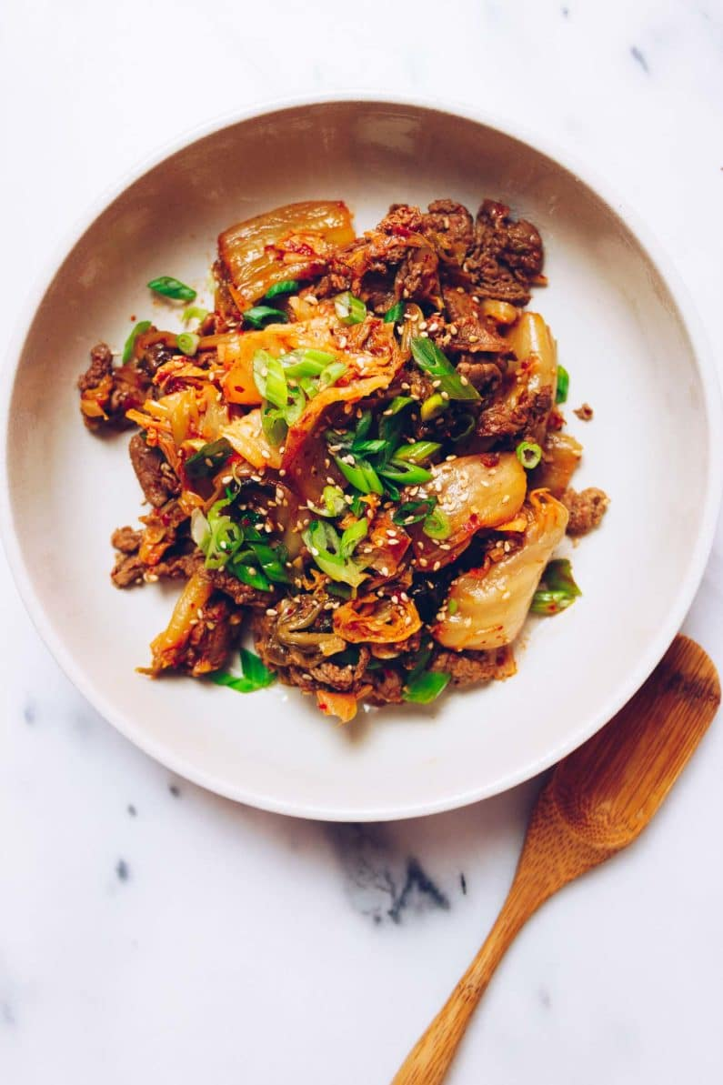 Paleo kimchi beef stir-fry recipe with shaved beef steak from I Heart Umami.