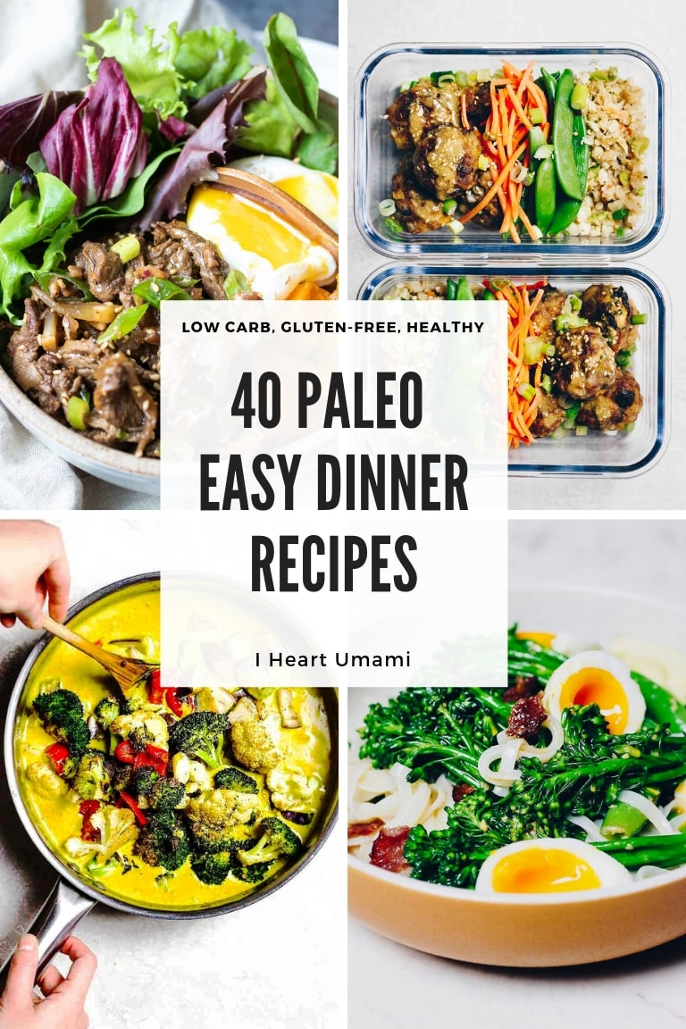 40 Easy Paleo Dinner Recipes include chicken, beef, pork, seafood, and vegetarian/vegan options that are delicious and quick and work for all budgets!
