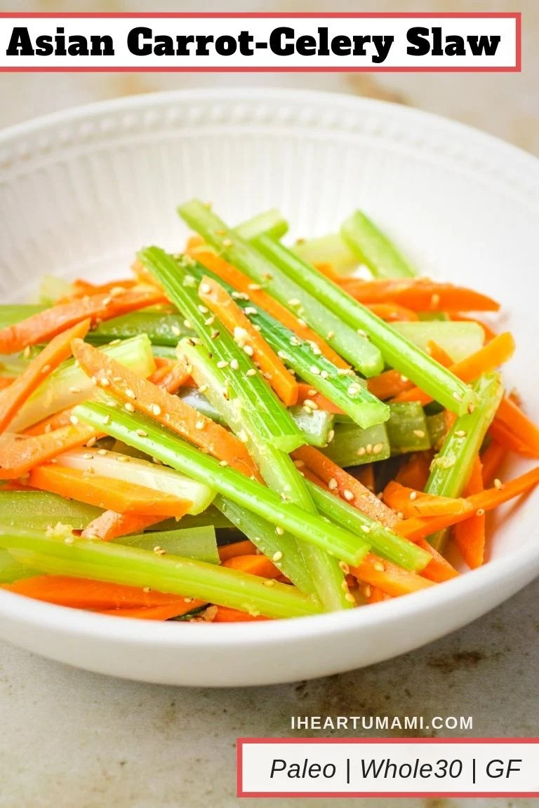 Asian Carrot-Celery Slaw recipe is the best Asian Carrot Salad for Paleo, Whole30, and Gluten-free healthy living!