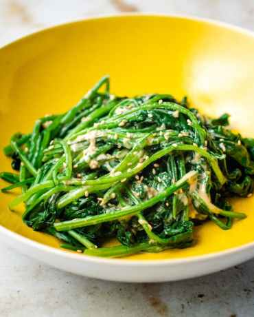 Gomaae Japanese Spinach Salad with Goma Dressing Recipe.