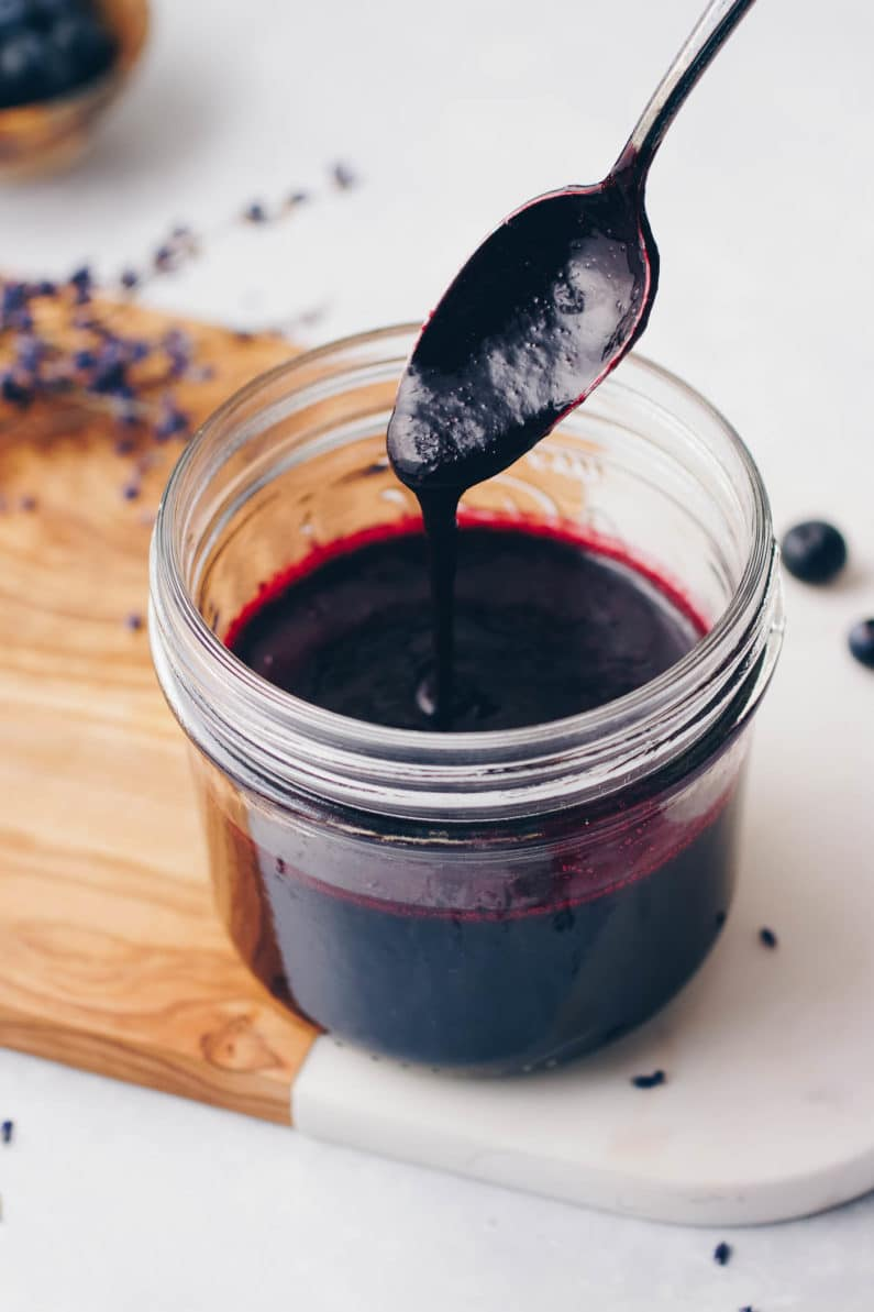 3-Ingredient Paleo Blueberry Lavender Simple Syrup recipe is Paleo, low carb, and with no refined sugar.