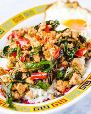 Thai basil chicken recipe uses ground chicken and is Paleo, Whole30, and low carb friendly.