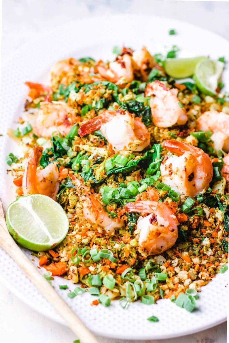 Thai Cauliflower Shrimp Fried Rice recipe is the best cauliflower Thai fried rice!