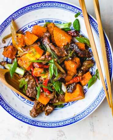 Cumin Beef Stir-Fry with roasted butternut squash recipe from I Heart Umami.