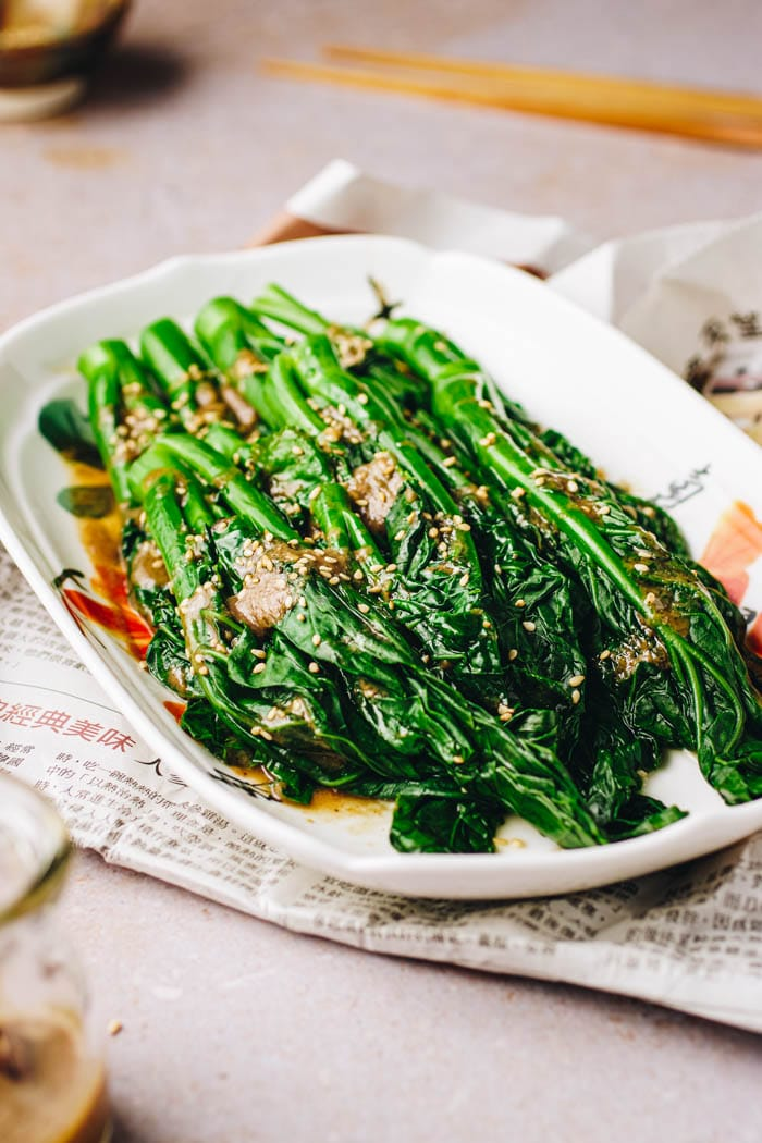 Blanched Asian Broccoli Gai Lan with Oyster Sauce I Heart Umami