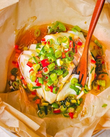 Chinese Steamed Fish Cod Recipe with Ginger Scallion Sauce I Heart Umami.