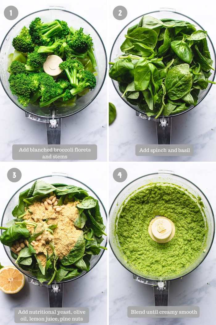 Steps on how to make broccoli pesto sauce