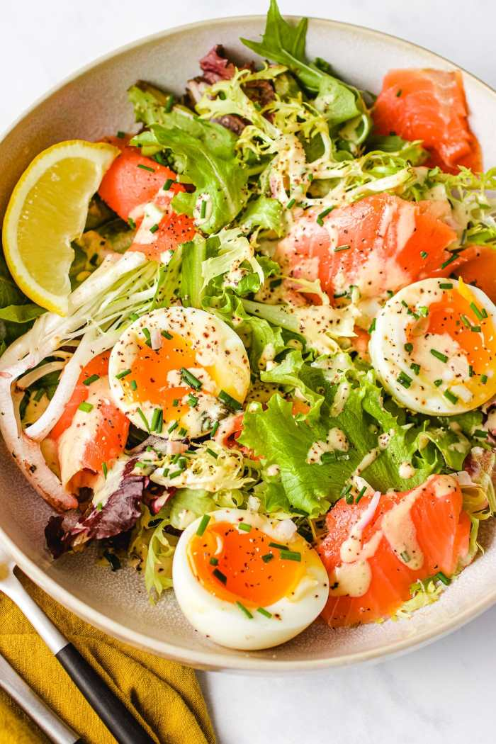 Smoked salmon with soft boiled eggs and creamy caper salad dressing I Heart Umami