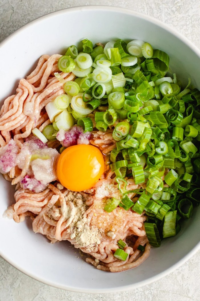 Ingredients for Tsukune in one bowl