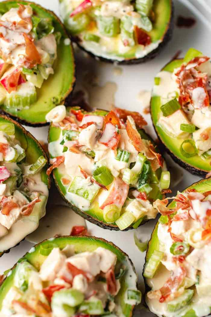 A photo shows stuffed avocados with chicken and apple