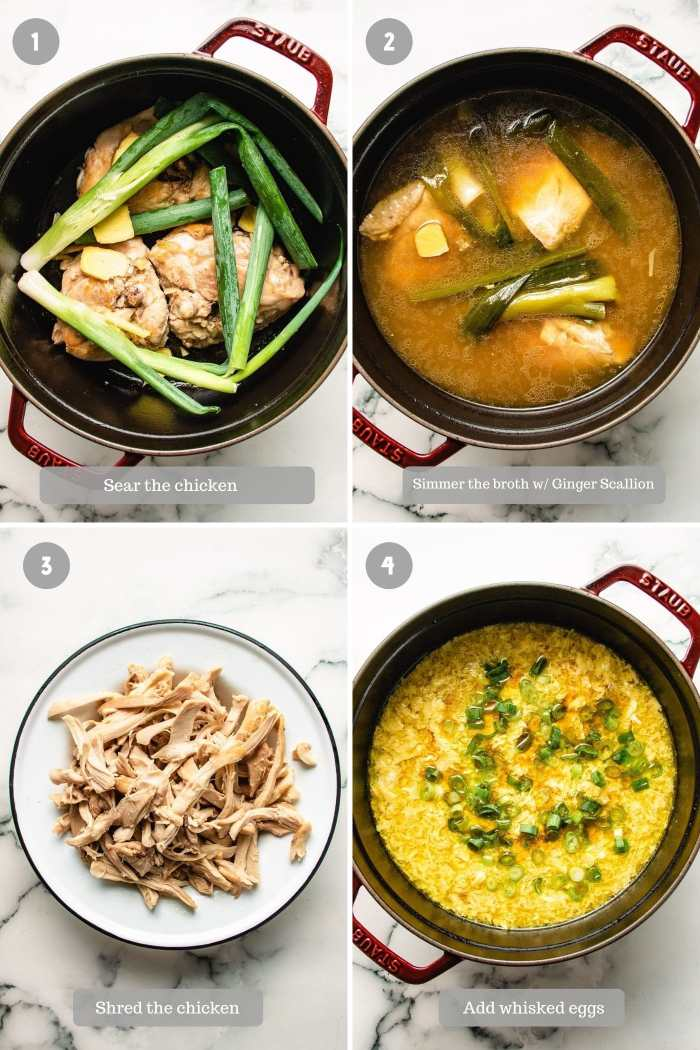 step-by-step photo shows how to make egg drop soup