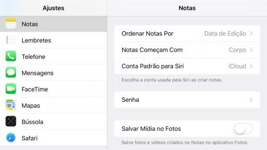 Senha Notas Ajustes iOS 9.3