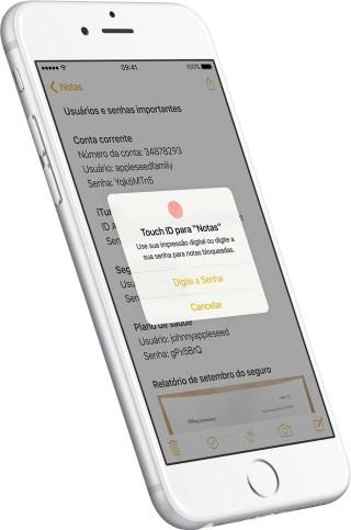 Senha Touch ID Notas