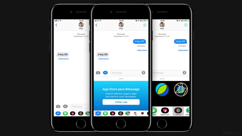 Seletor de aplicativos do iMessage no iOS 11.