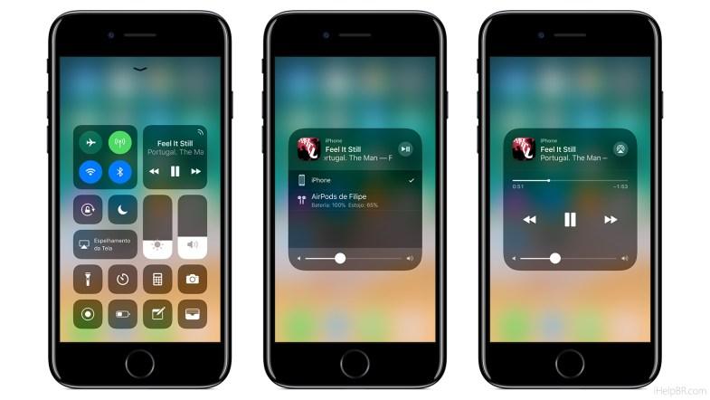 Central de Controle do iOS 11.