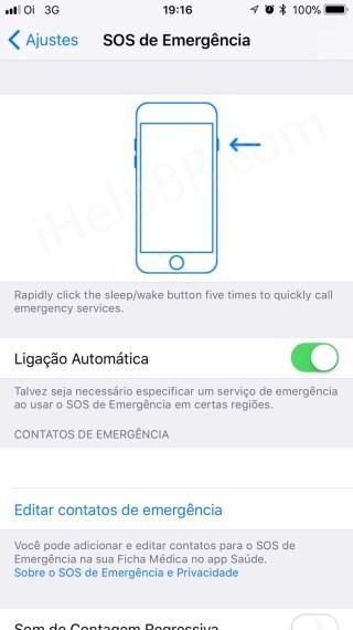 SOS Emergência no iOS 11.