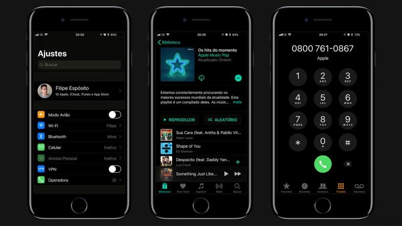 Tema escuro no iOS 11.