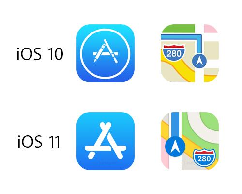 Ícones da App Store e Mapas no iOS 11 em comparação com antigos.
