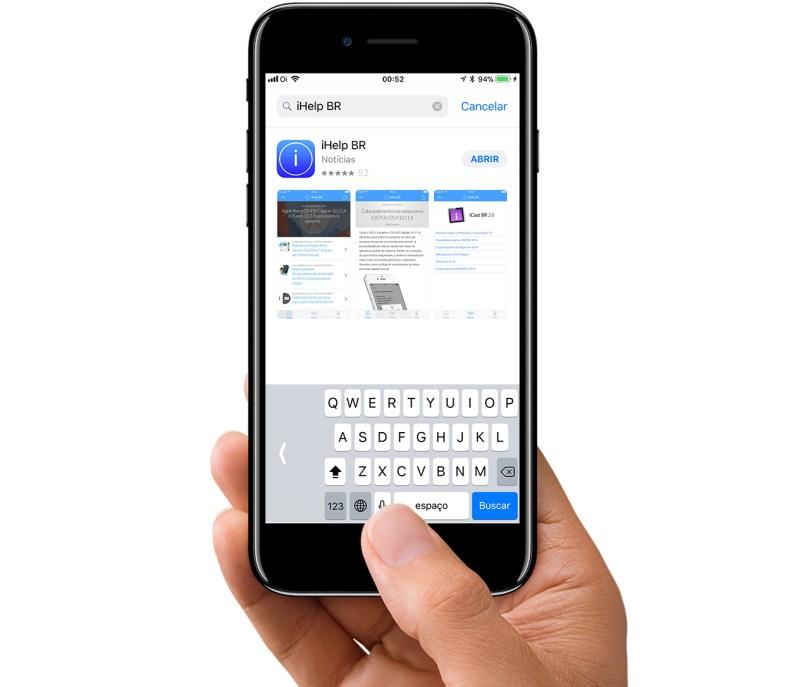 Teclado para uma mão só no iOS 11.