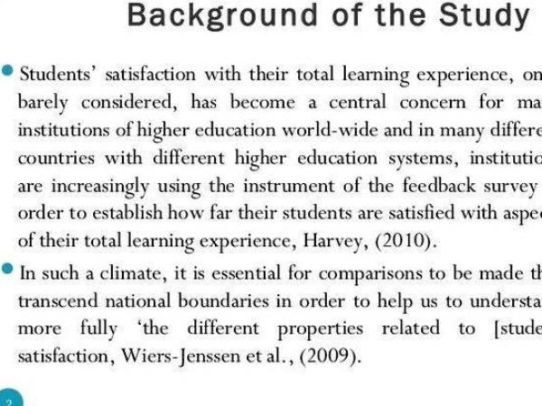 Writing background of the study in thesis reader that they were
