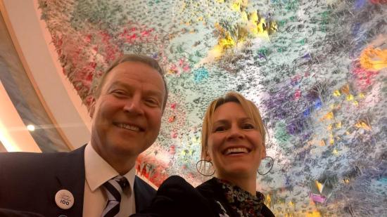 Kaari Mattila oli Genevessä tarkkailijana UPR-käsittelyssä yhdessä Markku Jokisen kanssa.