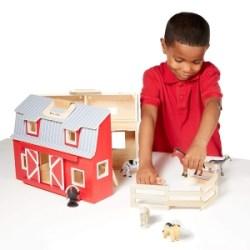"ihocon: Melissa & Doug Wooden Fold & Go Barn, Animal & People Play Set, Promotes Imaginative Play, 7 Animal Play Figures, 11.25"" H x 13.5"" W x 4.7"" L 木製農場遊戲組"