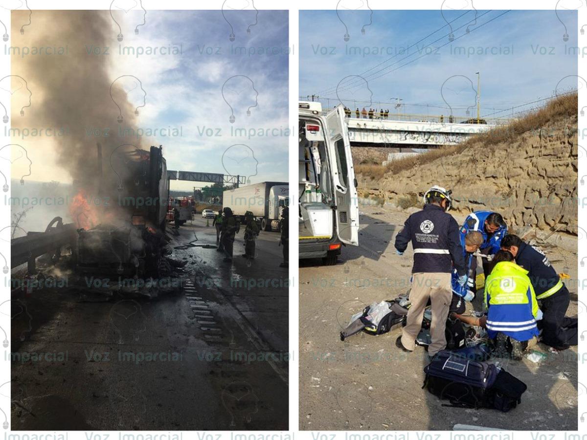 Fuerte accidente en la 57, muere conductor y se incendia tráiler; a la altura de San Juan del Río