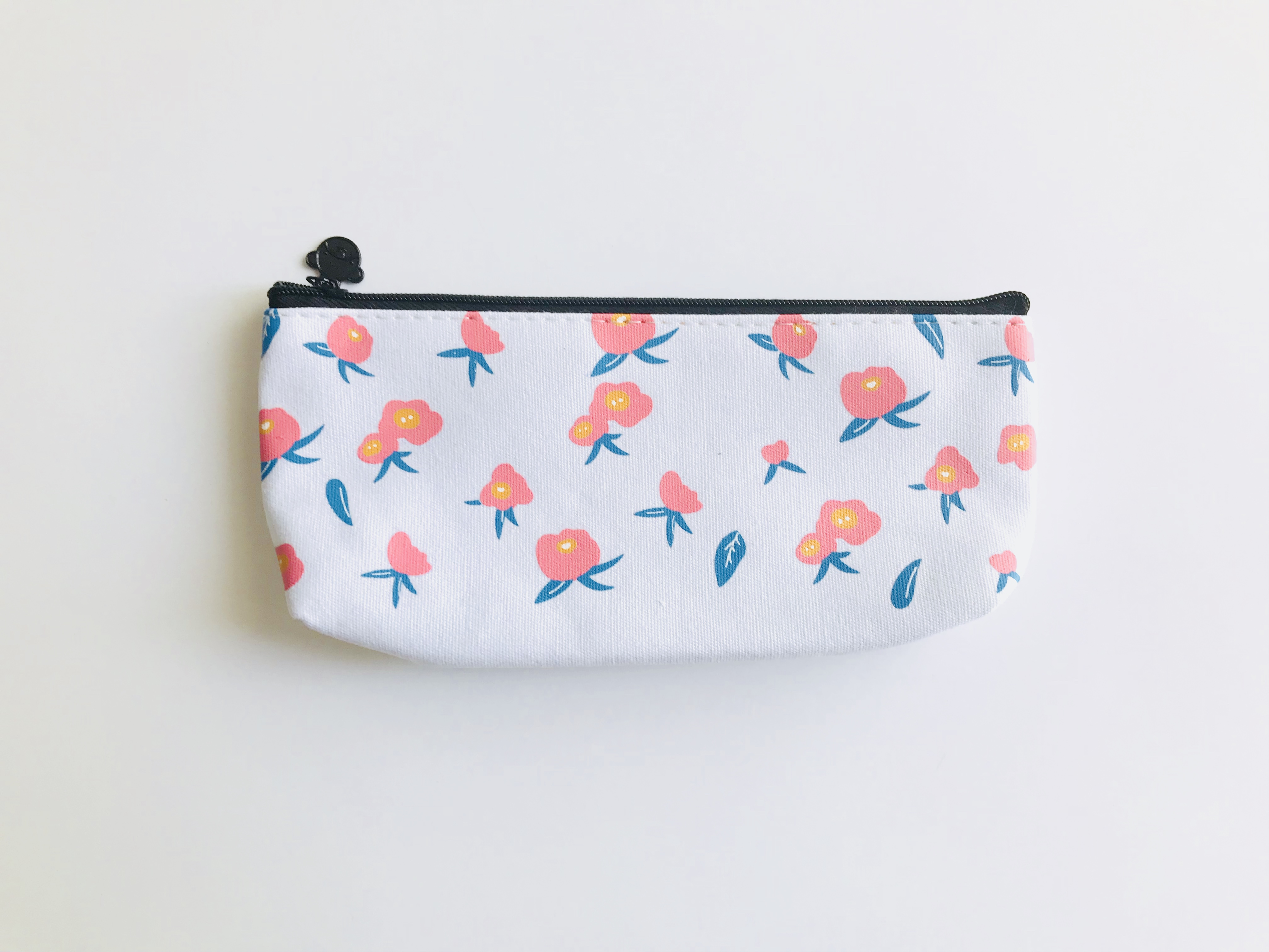 White with Flowers Canvas Zipper Case