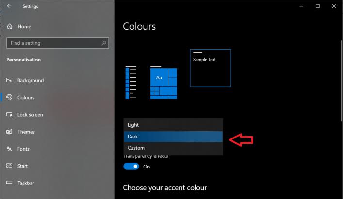 How to enable dark mode windows 10