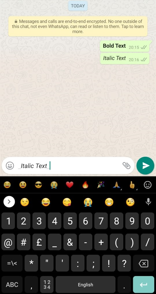 How to italics whatsapp text