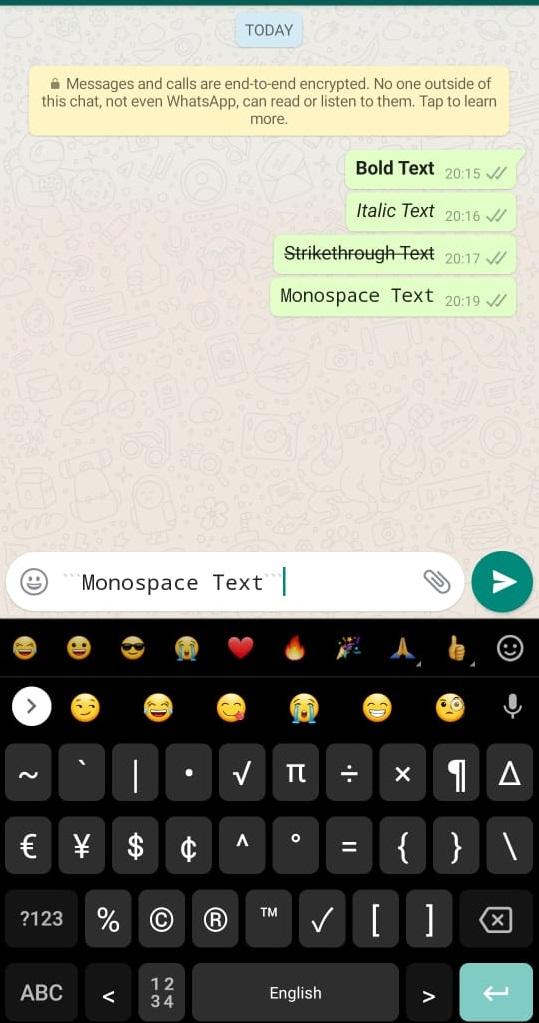 How to monospace- typewriter whatsapp text