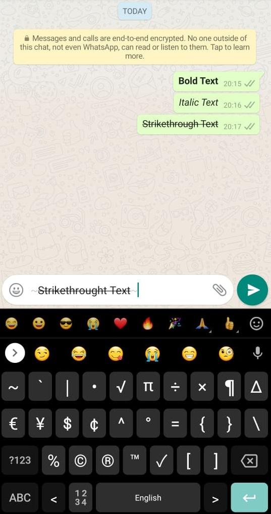 How to strikethrough whatsapp text