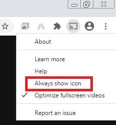 always show icon chromecast