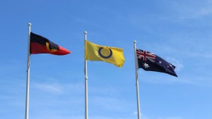 Aboriginal, Intersex and Australian flags flying in Altona on Intersex Awareness Day, 2018