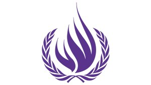 The symbol of the Office of the High Commissioner for Human Rights, in purple