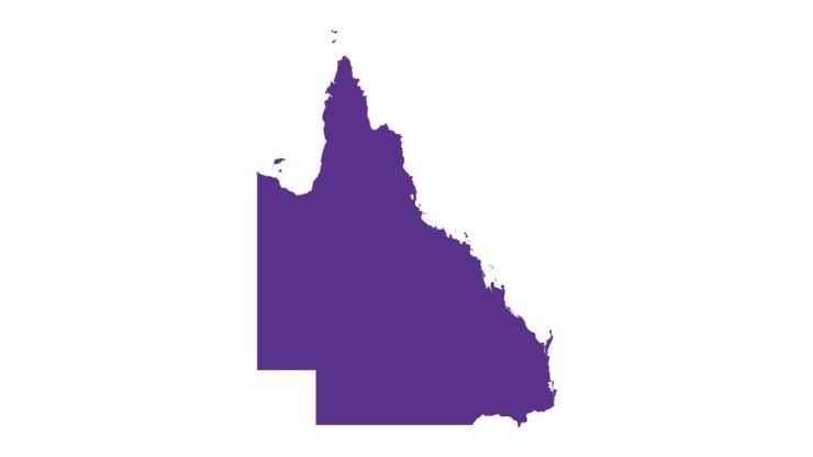 the shape of Queensland, in purple