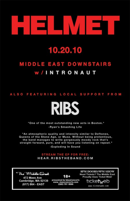 HELMET-RIBS-Poster-450x695 Concert Review - Ribs + Intronaut + Helmet at the Middle East (10.20.10)
