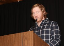 Keynote speaker Jon Webb, Evansville Courier & Press. Photo by Leslie Velez, Pike HS
