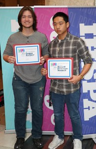 (left to right) Sports journalism contest finalists Logan Zrebiec, Southport HS and Russell Peterson-Womack, Southport HS. Photo by Leslie Velez, Pike HS
